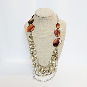 Chico's Amber & Gold Boho Necklace
